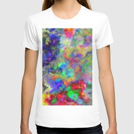 Abstract bright colorful watercolor brushstrokes pattern T-shirt