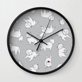Playful Westies Wall Clock