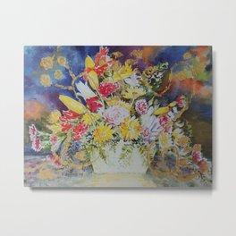 Basket of Flowers Metal Print