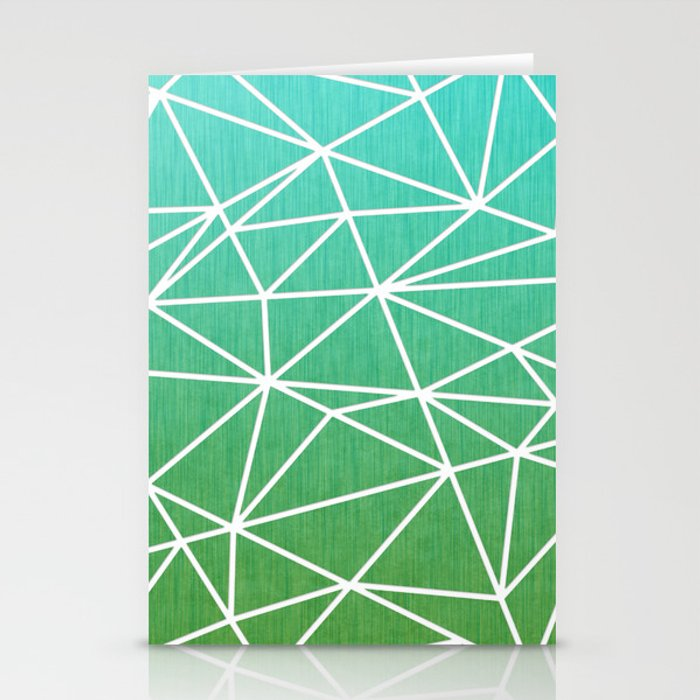 Abstract geometric | green & turquoise Stationery Cards