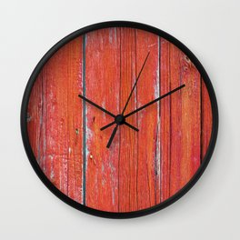 Red Rustic Fence rustic decor Wall Clock