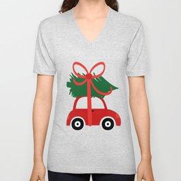 Christmas tree and  truck shirt Unisex V-Neck