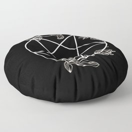 Pentagram with Plant Adornments - on black Floor Pillow