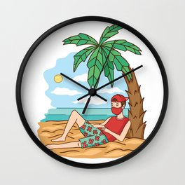 Holiday with face mask Wall Clock