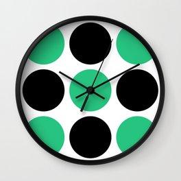 Mid Century Modern Polka Dot Pattern 9 Black and Green Wall Clock