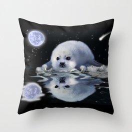 Destiny - Harp Seal Pup & Ice Floe Throw Pillow