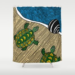 Struggle of the Turtle to the Sea Shower Curtain