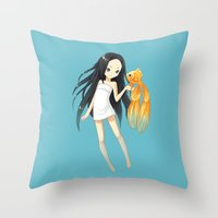 goldfish Throw Pillows featuring Goldfish by Freeminds