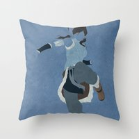 the legend of korra Throw Pillows featuring Korra by JHTY