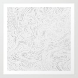 Elegant white silver glitter abstract marble Art Print