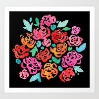 Peony & Roses on Black Art Print