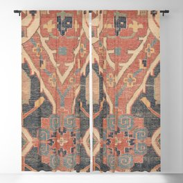 Geometric Leaves IV // 18th Century Distressed Red Blue Green Colorful Ornate Accent Rug Pattern Blackout Curtain