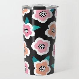 SCANDI BRIAR ROSES - pink on black Travel Mug