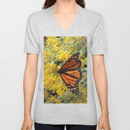 Monarch on Rubber Rabbitbrush Unisex V-Neck