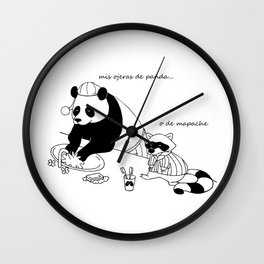 Panda and racoon Wall Clock