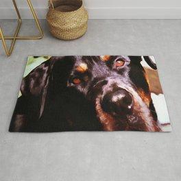 Rottweiler Dog Artistic Pet Portait Rug