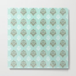Aqua Mint Damask Pattern Metal Print