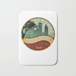 Corpus Christi City Skyline Texas Retro Design Vintage 80s Bath Mat