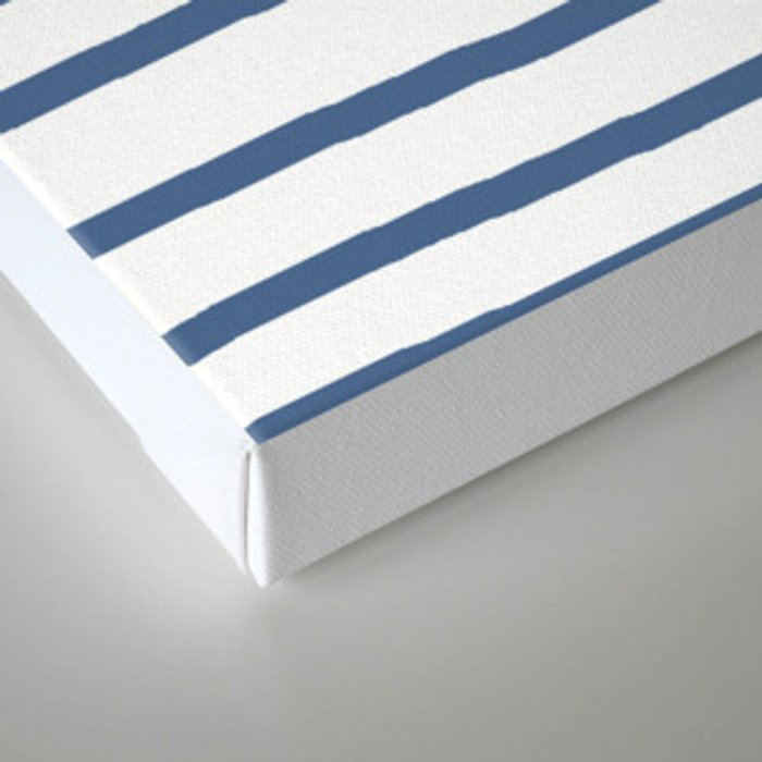 Simply Drawn Stripes in Aegean Blue and White Canvas Print