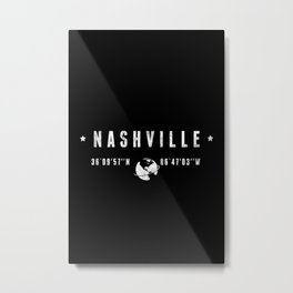 Nashville, geographic coordinates Metal Print