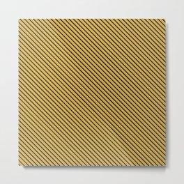Spicy Mustard and Black Stripe Metal Print