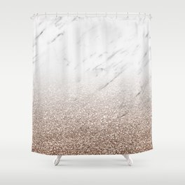 Glitter ombre - white marble & rose gold glitter Shower Curtain