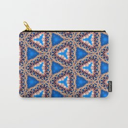 Blue and Gold Beadwork Inspired Print Carry-All Pouch