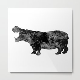 Hippo Art Black and White Decor Wildlife Decor Hippopotamus Art Safari Art Zoo Art Metal Print