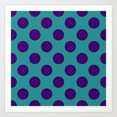 Big Polka Dots, Turquoise and Purple Art Print