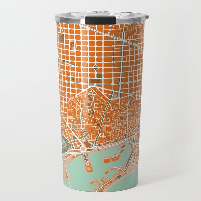 Barcelona city map orange Travel Mug