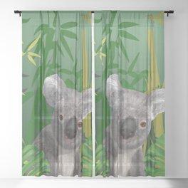 Koala Bear in Bamboo Forest Sheer Curtain