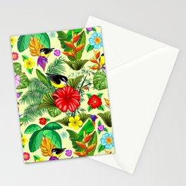 Birds and Nature Floral Exotic Seamless Pattern Stationery Cards