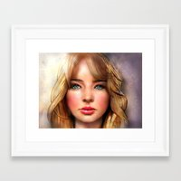 jennifer lawrence Framed Art Prints featuring Jennifer Lawrence by Helena Rose Young