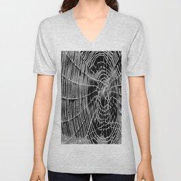 Black and White Spiders Web Unisex V-Neck