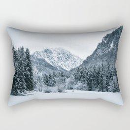 Mountains and frozen lake Zgornje Jezersko Rectangular Pillow