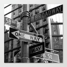 Street sign in New York City, black and white Canvas Print