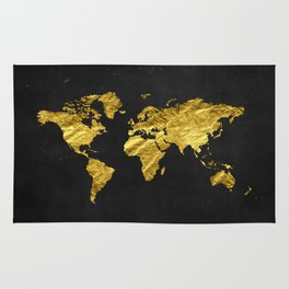 Black Gold Decor, Gold World Map, Office Decor, Bathroom, Glam, Black Wall Art Rug