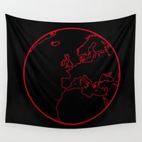 globe Wall Tapestries featuring Black Globe by Rachcox