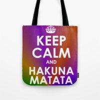 hakuna Tote Bags featuring hakuna matata by  Alexia Miles photography