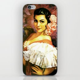 Jesus Helguera Painting of a Mexican Calendar Girl with Fan iPhone Skin