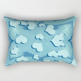 Grunge floating hearts in blue Rectangular Pillow