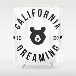 California Dreaming Minimalist Bear Shower Curtain