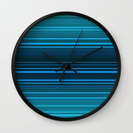 Abstract blue and green horizontal lines. Wall Clock