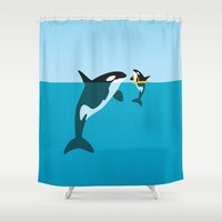 orca Shower Curtains featuring Orca by WyattDesign