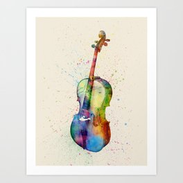 Cello Abstract Watercolor Art Print