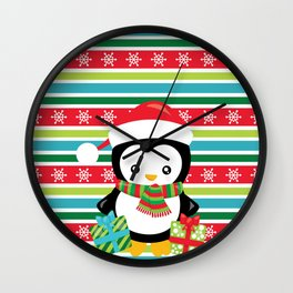 Penguin with Gifts Wall Clock