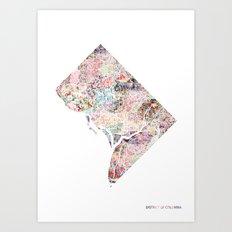 District of columbia map Portrait Art Print
