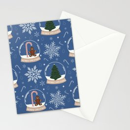 Christmas Snow Globe Pattern: Blue Stationery Cards
