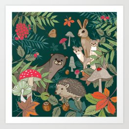 Animals In The Woods Art Print