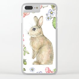 Floral Bunny Clear iPhone Case